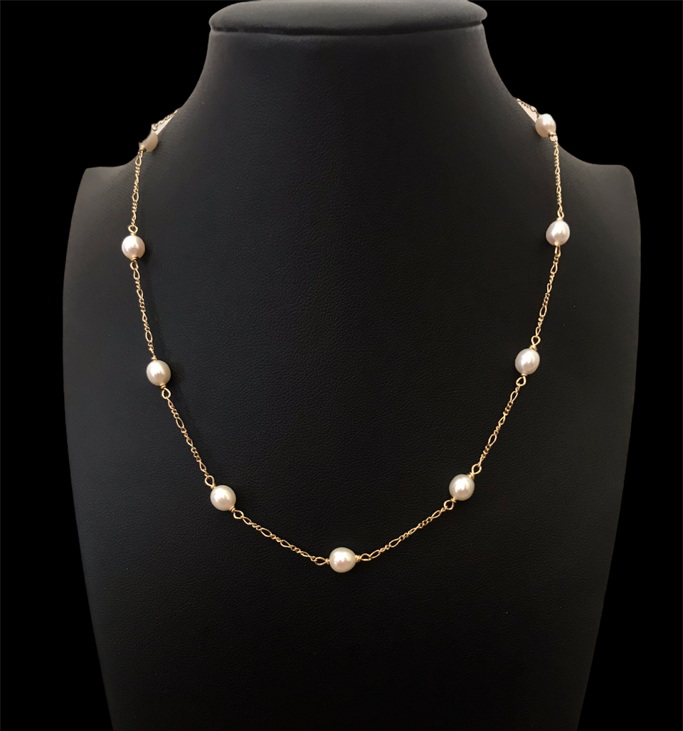 Gold filled necklace with freshwater pearls