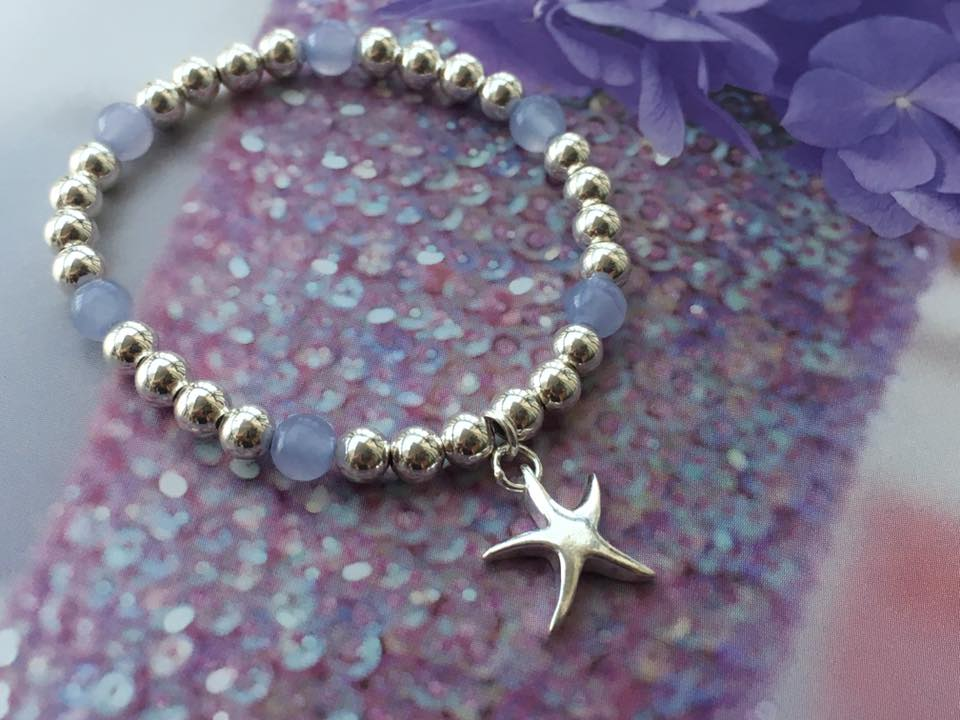 Amethyst stone with starfish charm