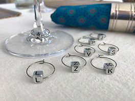 Silver wine glass identifiers