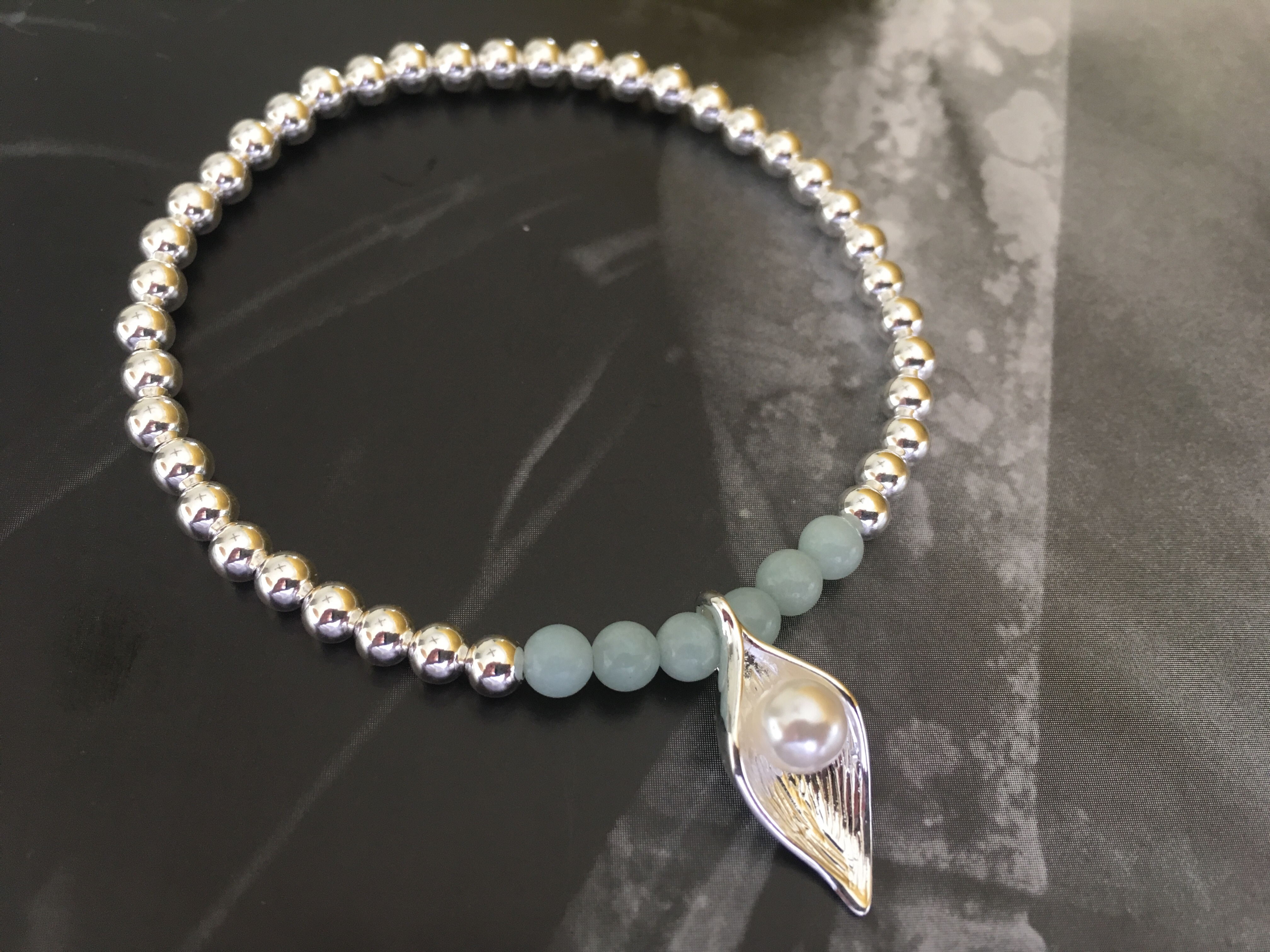 4mm silver with the Amazonite stones