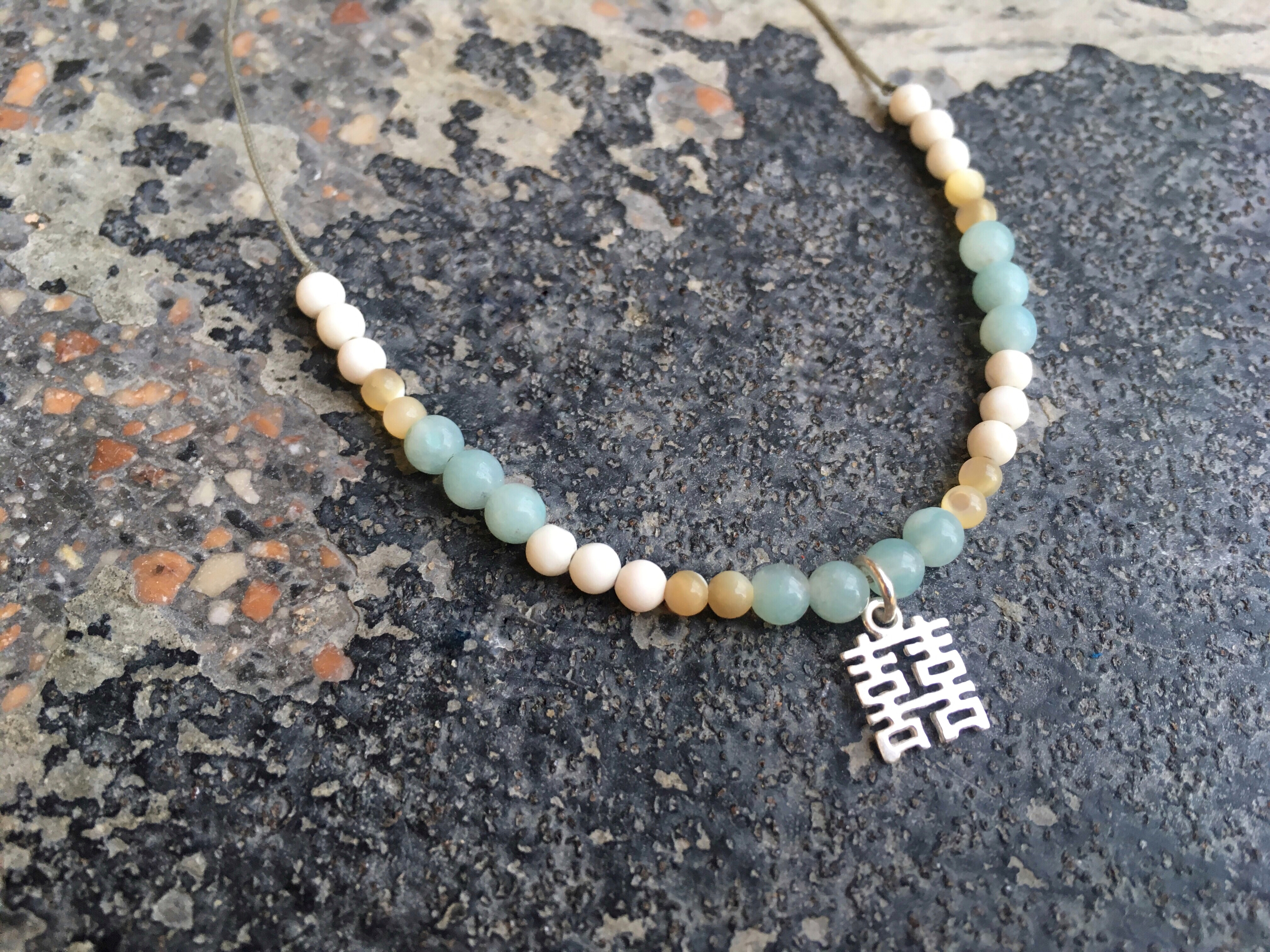 Amazonite, White Jade & Shell stone