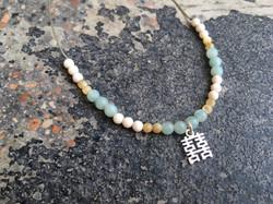 Amazonite, White Jade & Shell stone