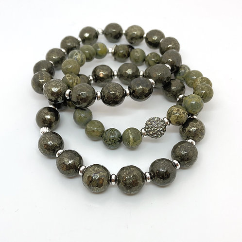 NINA • FACETED PYRITE  • GREEN BRECCIATED JASPER • 10MM • 8MM