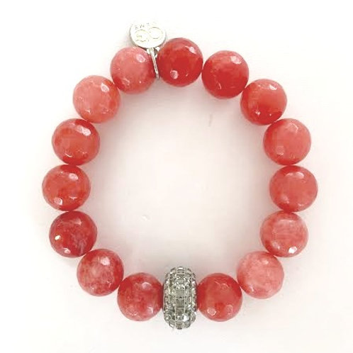 ARIA • FACETED SALMON JADE 12MM