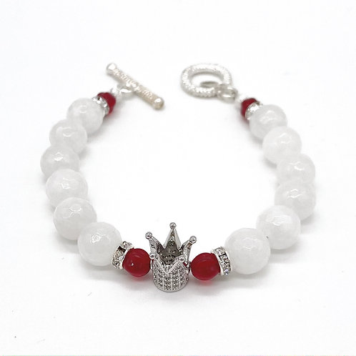 QUEEN • FACETED WHITE JADE • 10MM