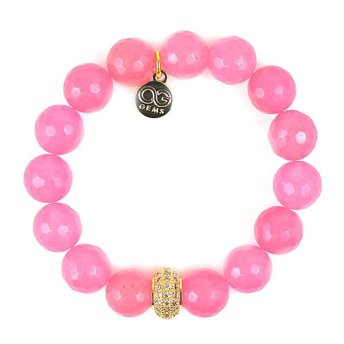 BONNIE • FACETED HOT PINK JADE • 12MM