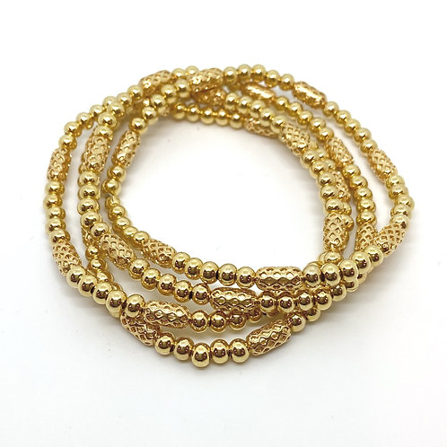 OG BEE HIVE • GOLD BRASS BEADS • 4MM