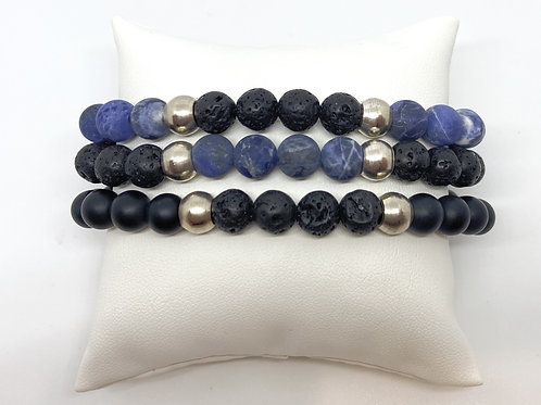 SAL • SODALITE, LAVA, BLACK GLASS 8MM