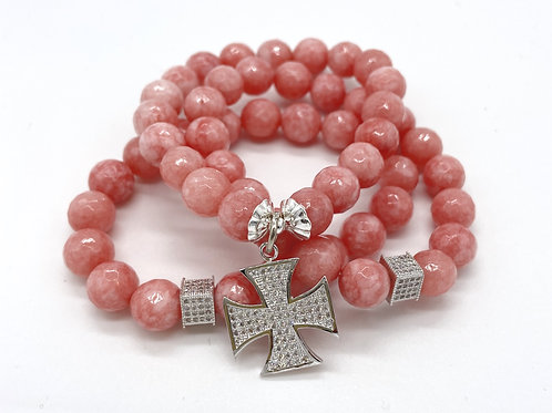 SELENA • FACETED SALMON PINK JADE • 10MM