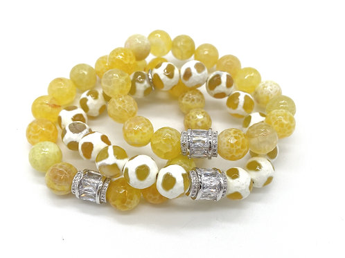 DAISY • FACETED YELLOW FIRE AGATE • YELLOW TIBETAN AGATE • 10MM