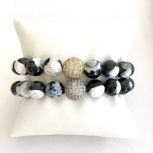 AVA • BLACK & WHITE AGATE 10MM