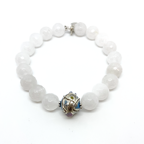 RAYA • FACETED WHITE JADE • 10MM