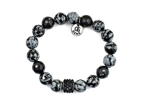 RAVEN • FACETED SNOWFLAKE OBSIDIAN • 10MM