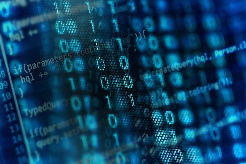 Digital binary data on computer screen.
