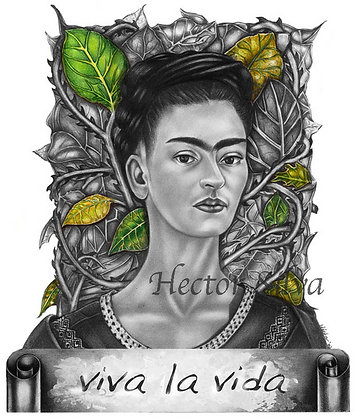 Frida with Green leaves
