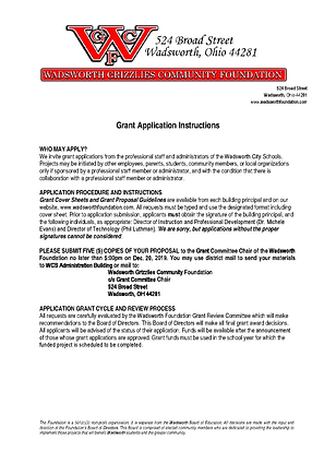 WGCF 2019-2020 Grant Application page 1.