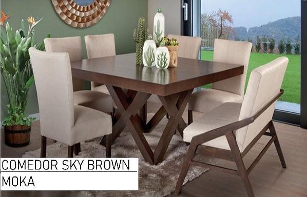 Comedo SKY BROWN con 6 sillas y 1 Banca
