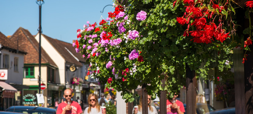 Hanging baskets in the High Street