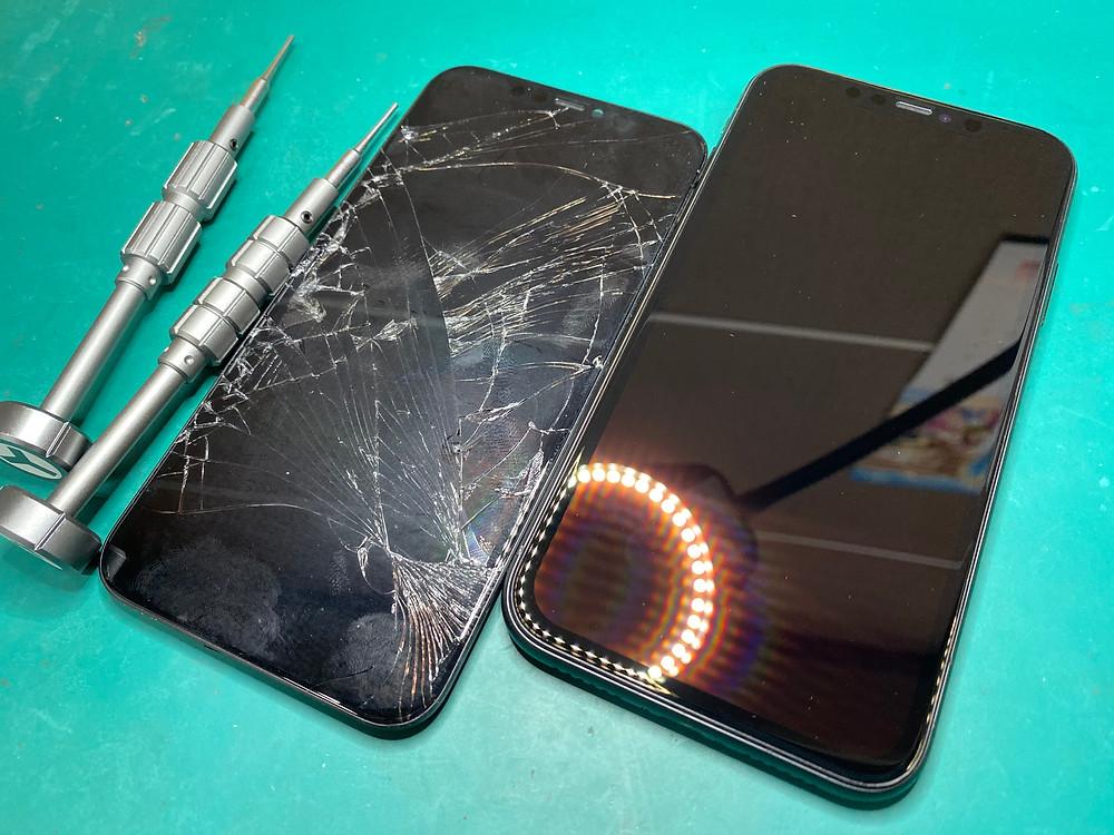 iPhoneパネル割れ直してガラスコーティング