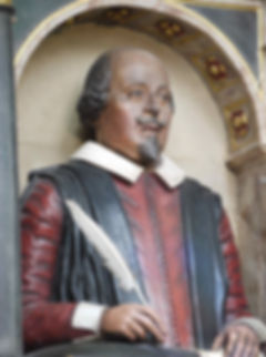 shakespeare. effigy, monument, bust, holy, trinity, church, stratford