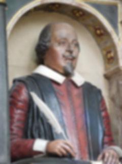shakespeare. effigy, monument, bust, holy, trinity, church, stratford