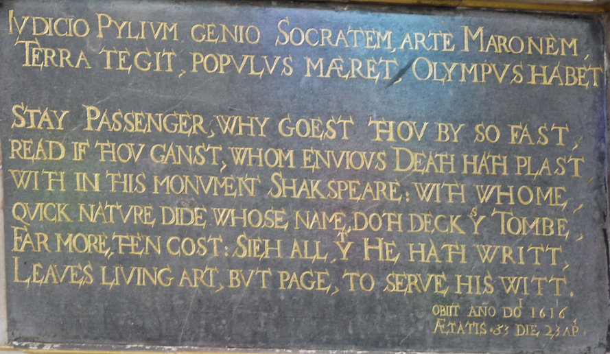 william, shakespeare, monument, inscription, holy, trinity, church, stratford, bacon, cryptogram