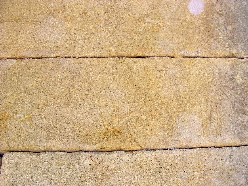 medieval, graffiti, knights, templar, templars, eucharist, christ, sun, moon, domme, france, cathars