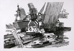 7.Из серии Порт Дождь. 1988 г.,б., линог