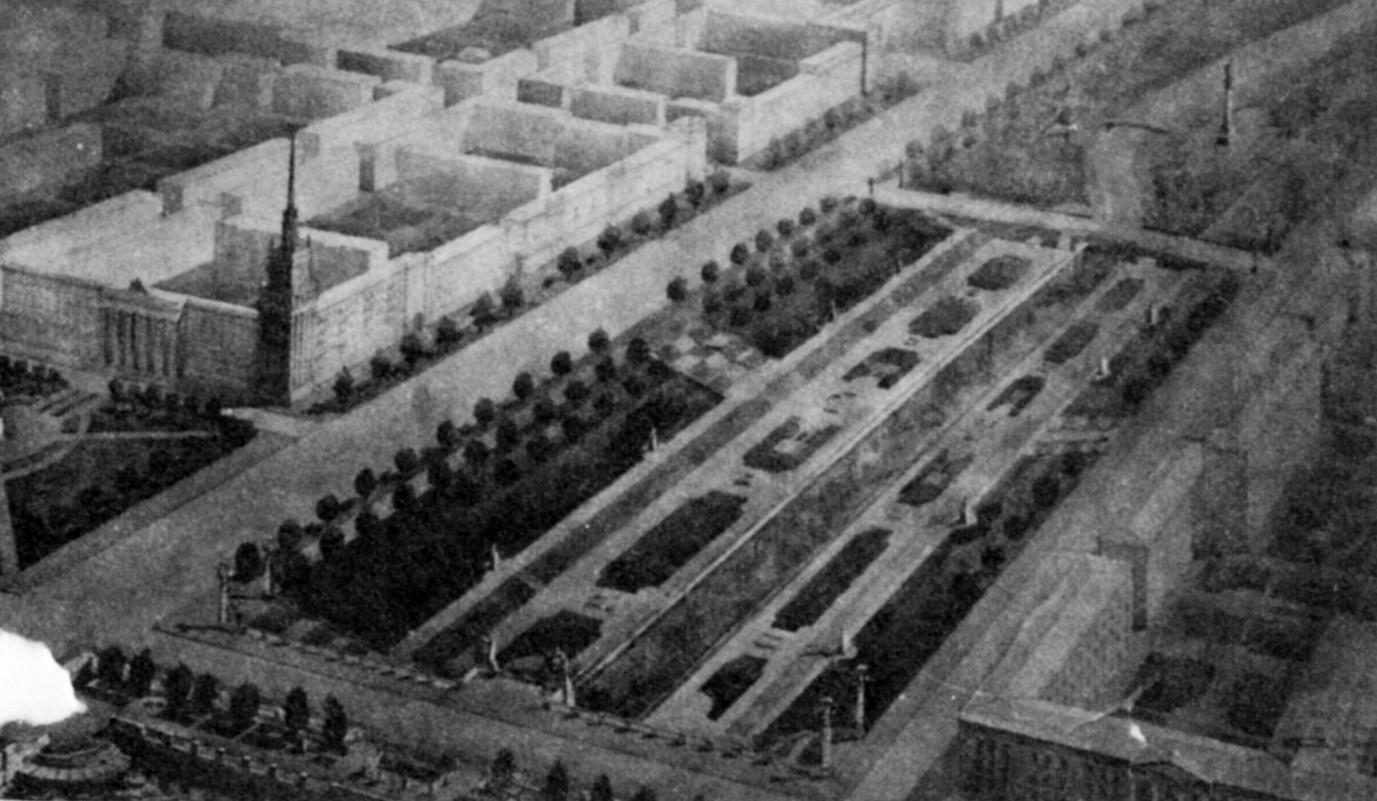 Дипломный проект студентки УПИ В. Мокиной  Проект городского парка на месте Екатеринбургского завода. 1953 г. Руководитель: П.В. Оранский.
