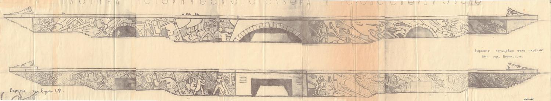 Эскизное предложение оформления подпорной стены плотины в Историческом сквере в Свердловске.