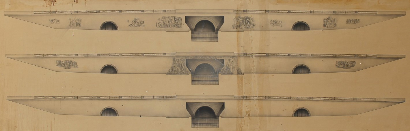 Эскизы вариантов размещения монументальных фигурных барельефов на гранитной подпорной стене Плотины в Историческом сквере