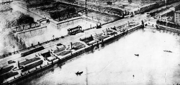 Набережная Городского пруда в Свердловске (Плотина), 1939-1941 гг., арх. С.В. Домбровский
