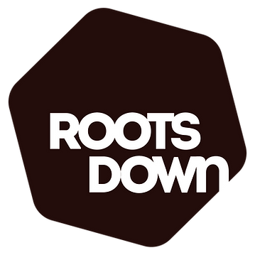 RootsDown logo_Square Logo Maroon White