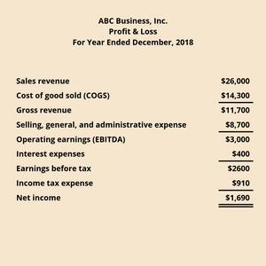 Sample profit and loss