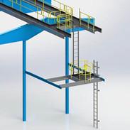 Fixed Aluminum Ladder with LAnding Platf