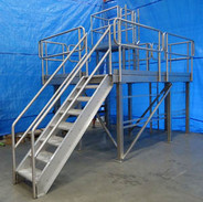 Stainless Steel Stairs with Diamond Plate Treads