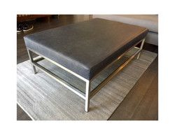 Ottoman_Custom_Brushed Stainless Steal_Leather_Glass
