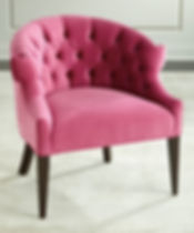 Pink Velvet Chair with Button Tufts