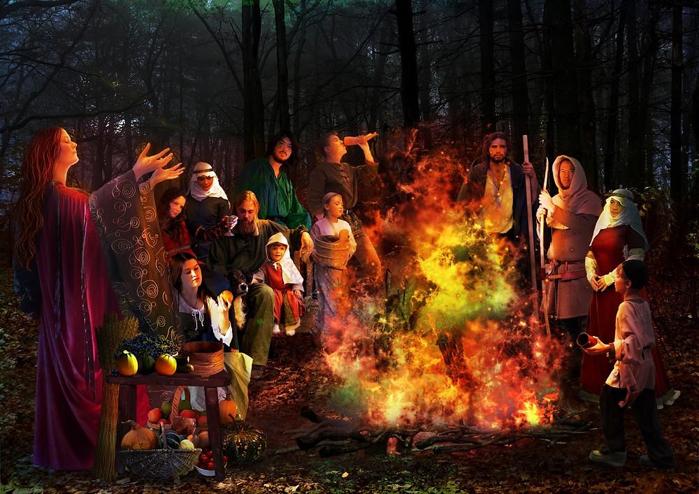 Samhain Bonfires embers. groundedpsychic.com