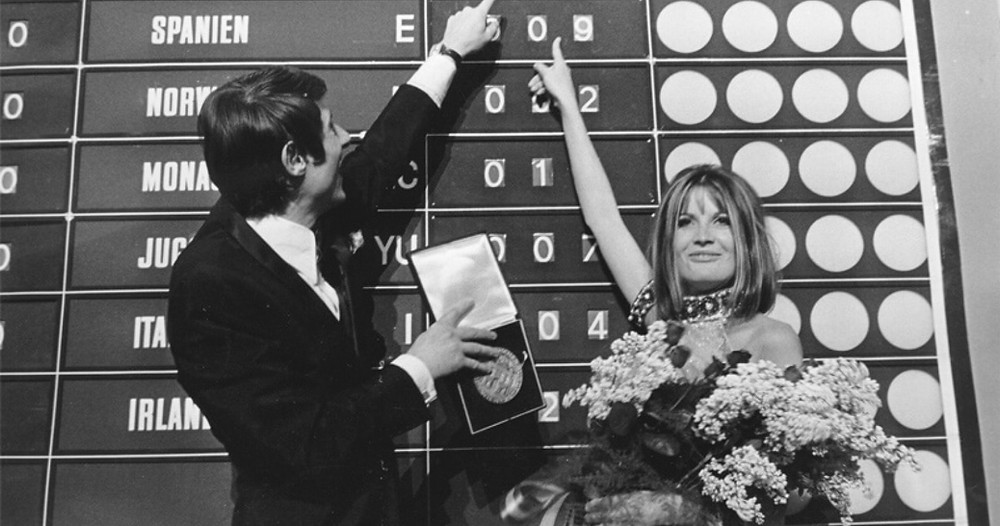 Sandie Shaw winning the 1967 Eurovision Song Contest.
