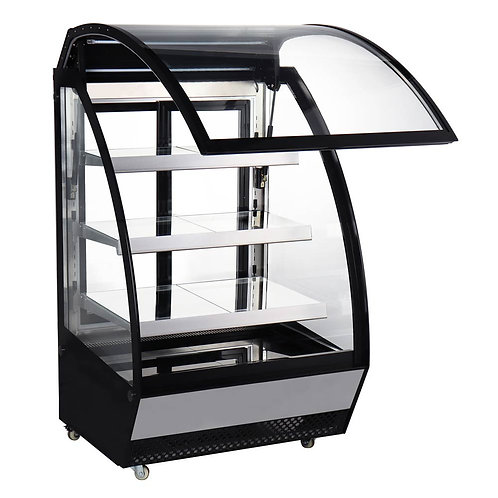 """New Marchia MBC48 48"""" Front Curved Lift-Up Glass Refrigerated Bakery Case"""