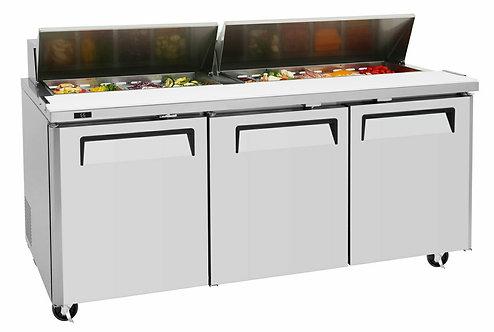 """New Genkraft GP-72 (72"""") 3 Door Food Prep Table In Stainless Steel"""