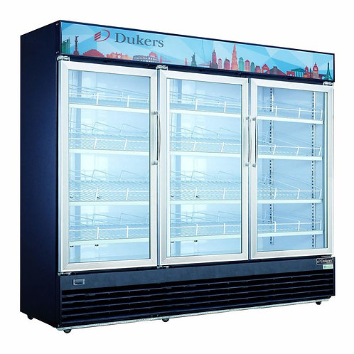 "New Dukers DSM-69R 78"" Three Glass Hinged Door Refrigerator"