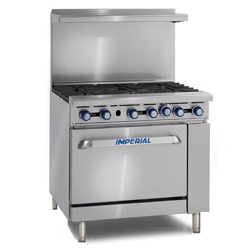 "Imperial IR-6-C 36"" 6 Burner Gas Range w/ Convection Oven, Natural Gas"