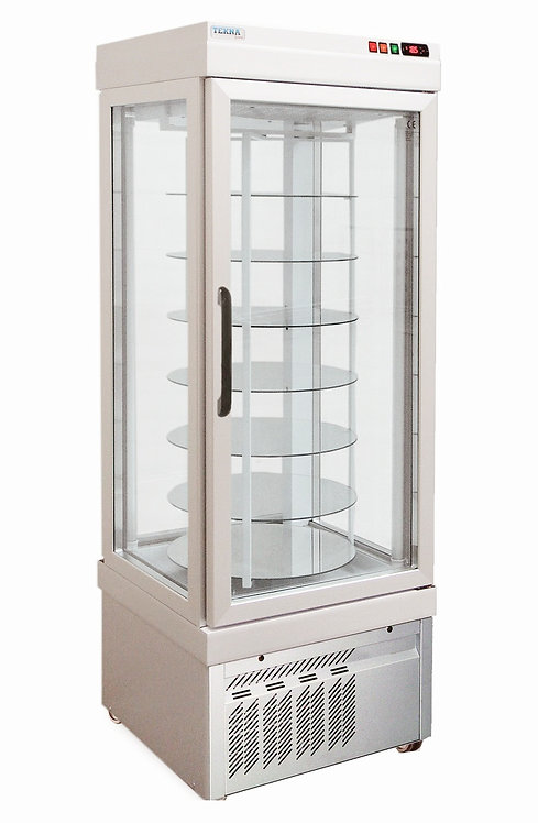 New Ampto TEKNA 4401 NFN Four Sided Glass Revolving Cake Display Case Freezer
