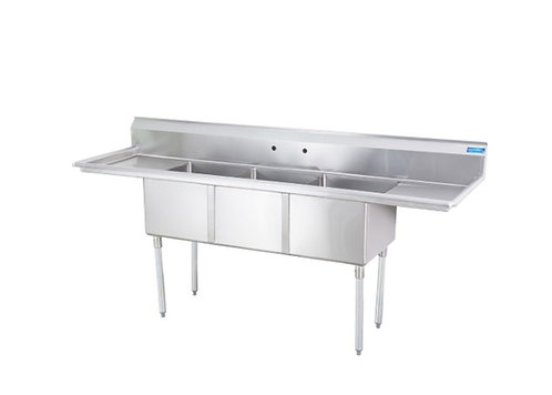 New Sapphire SMS-3-1515D (3) Compartment Sink, Double Drainboard (W