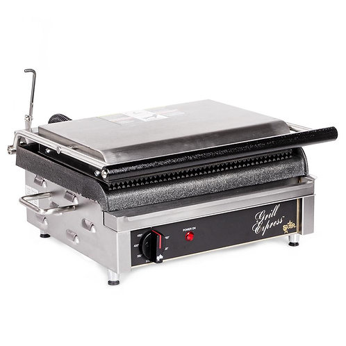 New Star GX14IS Single Commercial Panini Press w/ Cast Iron Smooth Plates, 120v
