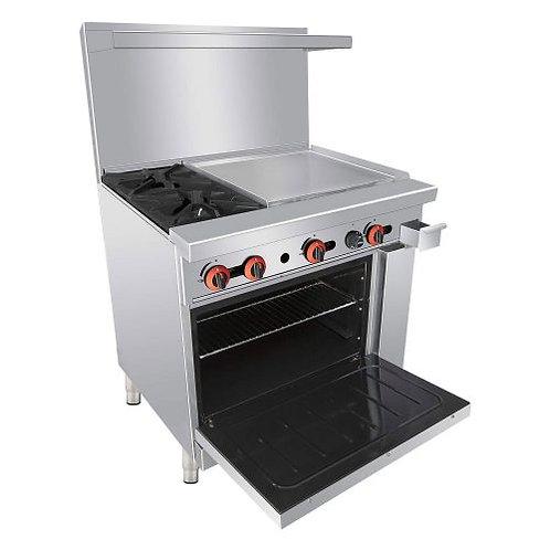 """New Cookline CR36-24 (2) Burner Range 24"""" Flat Griddle With Standard Oven"""