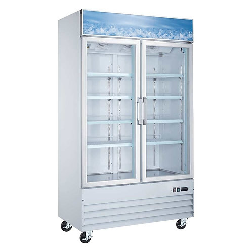 "New Coldline D40-W (2) Door Glass Freezer 48"" L White Installed Castors"