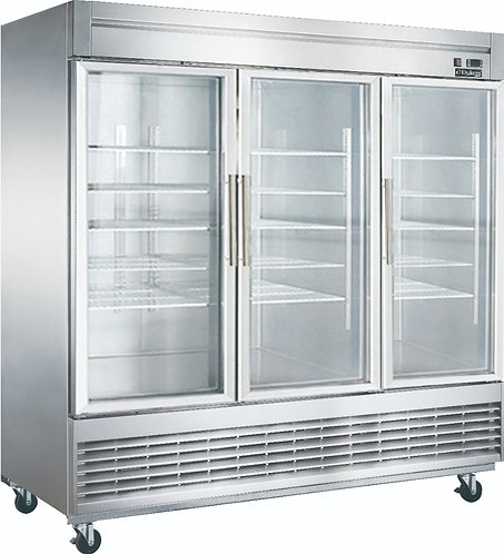 New Dukers D83R-GS3 3 Glass Door Refrigerator Bottom Mount